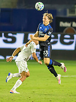 CARSON, CA - OCTOBER 14: Florian Jungwirth #23 of the San Jose Earthquakes with a beautiful head ball ball during a game between San Jose Earthquakes and Los Angeles Galaxy at Dignity Heath Sports Park on October 14, 2020 in Carson, California.