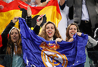 Calcio, andata degli ottavi di finale di Champions League: Roma vs Real Madrid. Roma, stadio Olimpico, 17 febbraio 2016.<br /> Real Madrid fans cheer prior to the start of the first leg round of 16 Champions League football match between Roma and Real Madrid, at Rome's Olympic stadium, 17 February 2016.<br /> UPDATE IMAGES PRESS/Riccardo De Luca