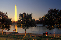 AJ2261, Washington Monument, Washington, DC, District of Columbia, The Washington Monument on the Mall reflects in the water in Washington the Capital City of the United States.