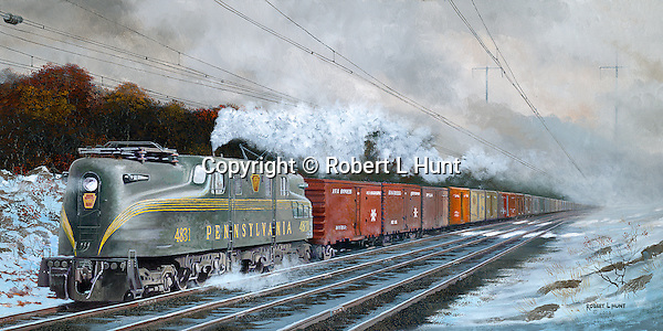 """Pennsylvania Railroad GG1 hauling solid boxcar freight train on the PRR mainline to Harrisburg through winter snow and bitter cold. Oil on canvas, 15"""" x 30""""."""