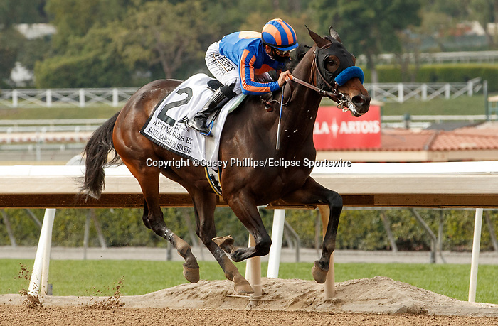 ARCADIA, CA  APRIL 24:  #2 As Time Goes By, ridden by Mike Smith, is much the best in the stretch of the Santa Margarita Stakes (Grade ll) on April 24, 2021 at Santa Anita Park in Arcadia, CA. (Photo by Casey Phillips/ Eclipse Sportswire/ CSM)