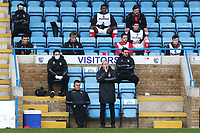 Charlton Manager, Lee Bowyer, urges his team on while his seven substitutes social distance in the background. New regulations starting this weekend means he can now bring on five substitutes during Gillingham vs Charlton Athletic, Sky Bet EFL League 1 Football at the MEMS Priestfield Stadium on 21st November 2020
