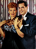 Desi Arnaz and wife Lucille Ball  in 1955
