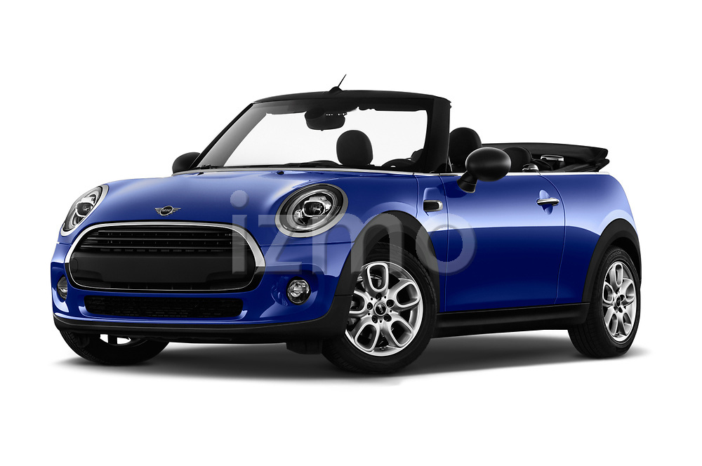 Stock pictures of low aggressive front three quarter view of a 2018 Mini MINI One Salt 2 Door Convertible