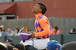 Jockey Ricardo Santana, Jr. after winning with the Honeybee Stakes (Grade III) after an extensive objection at Oaklawn Park in Hot Springs, Arkansas-USA on March 8, 2014. (Credit Image: © Justin Manning/Eclipse/ZUMAPRESS.com)