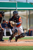 GCL Astros catcher Nerio Rodriguez (58) throws down to second base during a Gulf Coast League game against the GCL Marlins on August 8, 2019 at the Roger Dean Chevrolet Stadium Complex in Jupiter, Florida.  GCL Astros defeated GCL Marlins 4-2.  (Mike Janes/Four Seam Images)
