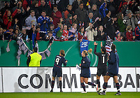 USWNT acknowledges fans. US Women's National Team defeated Germany 1-0 at Impuls Arena in Augsburg, Germany on October 29, 2009.