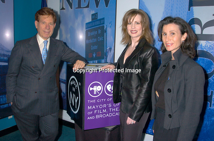 Katherine Oliver, Commisioner of Mayors Office of TV, Film and Theatre, Peter Price, head of Natas  and Martha Byrne ..at the Mayor's Office of Film, Theatre and Broadcasting ..on May 4, 2004 to pick a contest winner to go to the Daytime Emmy Awards on May 21, 2004 at Radio City Music Hall. Photo by Robin Platzer, Twin Images