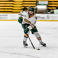 16 February 2019: University of Vermont Catamount Forward Theresa Schafzahl, a Freshman from Weiz, Austria, in action against the Holy Cross Crusaders at Gutterson Fieldhouse in Burlington, Vermont. The Lady Cats defeated the Crusaders 4-1 to sweep their 2-game weekend series. Mandatory Credit: Ed Wolfstein Photo *** RAW (NEF) Image File Available ***