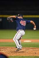 Gwinnett Braves pitcher Juan Jaime (46) delivers a pitch during a game against the Buffalo Bisons on May 13, 2014 at Coca-Cola Field in Buffalo, New  York.  Gwinnett defeated Buffalo 3-2.  (Mike Janes/Four Seam Images)