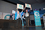 Brexit Party EU elections campaign launch at  The Neon in Newport, South Wales. Brexit Party Leader Nigel Farage  holding up  placards alongside Ann Widdecombe of the Brexit Party at the end of the event.