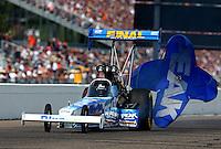 Aug. 18, 2013; Brainerd, MN, USA: NHRA top fuel dragster driver T.J. Zizzo during the Lucas Oil Nationals at Brainerd International Raceway. Mandatory Credit: Mark J. Rebilas-