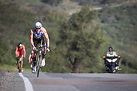 Andy Potts leads the men up the hills during the Accenture Ironman California 70.3 in Oceanside, CA on March 29, 2014.