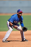 Texas Rangers Andy Ibanez (97) during an Instructional League game against the Kansas City Royals on October 4, 2016 at the Surprise Stadium Complex in Surprise, Arizona.  (Mike Janes/Four Seam Images)