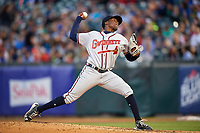Gwinnett Braves relief pitcher Akeel Morris (26) delivers a pitch during a game against the Buffalo Bisons on August 19, 2017 at Coca-Cola Field in Buffalo, New York.  Gwinnett defeated Buffalo 1-0.  (Mike Janes/Four Seam Images)