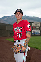 Billings Mustangs pitcher Ryan Campbell (28) poses for a photo prior to a Pioneer League game against the Ogden Raptors at Lindquist Field on August 17, 2018 in Ogden, Utah. The Billings Mustangs defeated the Ogden Raptors by a score of 6-3. (Zachary Lucy/Four Seam Images)