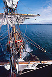 The Golden Hind, historic sailing ship, Sir Francis Drake's Golden Hind replica under full sail, commemorating Drake's around the world (1577-1580) Voyage of Discovery, property released,