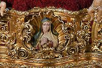 Thron der Bruderschaft Cofradia de la Esperanza,  Semana Santa (Karwoche) in Malaga, Andalusien, Spanien