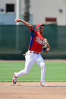 GCL Phillies shortstop JP Crawford (2) during a game against the GCL Yankees 2 on July 22, 2013 at Carpenter Complex in Clearwater, Florida.  GCL Yankees defeated the GCL Phillies 2-1.  (Mike Janes/Four Seam Images)