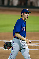 AZL Rangers starting pitcher Hans Crouse (55) walks off the field between innings of the game against the AZL Giants on September 4, 2017 at Scottsdale Stadium in Scottsdale, Arizona. AZL Giants defeated the AZL Rangers 6-5 to advance to the Arizona League Championship Series. (Zachary Lucy/Four Seam Images)