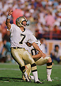 New Orleans Saints Morten Andersen (7) during game from his 1988 season. Morten Andersen played for 25 season with 5 different teams and was an 7-time Pro Bowler.