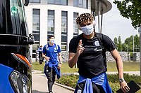 16th May 2020, Gelsenkirchen, Germany; Bundesliga football, Borussia Dortmund versus FC Schalke;   Departure of the FC Schalke 04 team for the game at Borussia Dortmund Jean Clair Todibo FC Schalke 04 with face mask