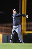 Field umpire Blake Carnahan ejects third baseman Ross Wilson (3 - not shown) during a game between the Jupiter Hammerheads and Bradenton Marauders on April 17, 2014 at McKechnie Field in Bradenton, Florida.  Bradenton defeated Jupiter 2-1.  (Mike Janes/Four Seam Images)