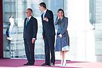 King Felipe VI of Spain and Queen Letizia receive president of Portugal Marcelo Rebelo de Sousa at the Royal Palace in Madrid, Spain. April 16, 2018. (ALTERPHOTOS/Borja B.Hojas)