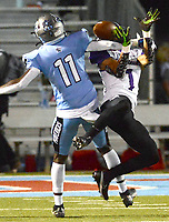 Fort Smith Southside's AJ Williams (11) breaks up a pass intended for Fayetteville's Isaiah Sategna (1) on Friday, Oct. 8, 2021 in Fort Smith. (Special to NWA Democrat Gazette/Brian Sanderford)
