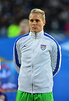 Lorient, France. - Sunday, February 8, 2015: Goalkeeper Ashlyn Harris (24) of the USWNT. France defeated the USWNT 2-0 during an international friendly at the Stade du Moustoir.