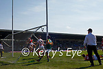 Seán O'Shea, Kerry, scores Kerry's third goal during the Munster GAA Football Senior Championship Final match between Kerry and Cork at Fitzgerald Stadium in Killarney on Sunday.