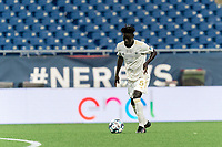 FOXBOROUGH, MA - AUGUST 5: Malick Mbaye #5 of North Carolina FC controls the ball during a game between North Carolina FC and New England Revolution II at Gillette Stadium on August 5, 2021 in Foxborough, Massachusetts.