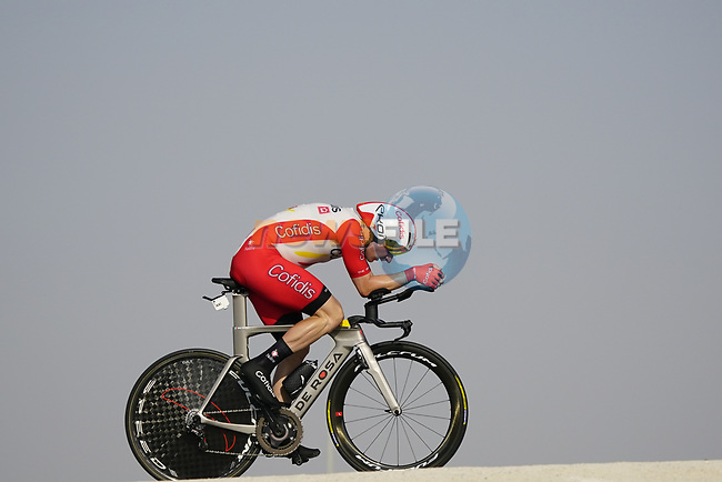 Elia Viviani (ITA) Cofidis during Stage 2 of the 2021 UAE Tour an individual time trial running 13km around Al Hudayriyat Island, Abu Dhabi, UAE. 22nd February 2021.  <br /> Picture: Eoin Clarke | Cyclefile<br /> <br /> All photos usage must carry mandatory copyright credit (© Cyclefile | Eoin Clarke)