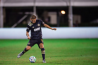 LAKE BUENA VISTA, FL - JULY 20: Alejandro Bedoya #11 of the Philadelphia Union dribbles the ball during a game between Orlando City SC and Philadelphia Union at Wide World of Sports on July 20, 2020 in Lake Buena Vista, Florida.