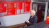 Pictured: CCTV showing Paul Griffiths inside the Rhondda takeaway in Wales, UK.<br /> Re: Paul Griffiths, who pointed an imitation firearm at a kebab shop owner – after he was told to wait outside the shop because he refused to wear a mask – has been jailed by Magistrates in Merthyr Tydfil, Wales, UK.<br /> Paul Griffiths, 57, walked into the Rhondda Takeaway on November 5 and tried to order food. <br /> But when asked to put on a mask he refused, so was told to wait outside.<br /> As the owner tried to explain why he was asking him to put on a mask, Griffiths pulled an imitation firearm from his pocket before pointing it at people inside the shop.