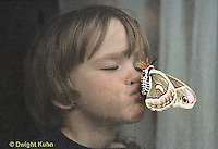 LE26-016z  Cecropia Moth - child kissing adult that landed on screen  - Hyalophora cecropia