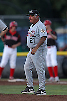 Tri-City ValleyCats pitching coach Gary Ruby #21 during a game against the Batavia Muckdogs at Dwyer Stadium on July 14, 2011 in Batavia, New York.  Batavia defeated Tri-City 6-3.  (Mike Janes/Four Seam Images)