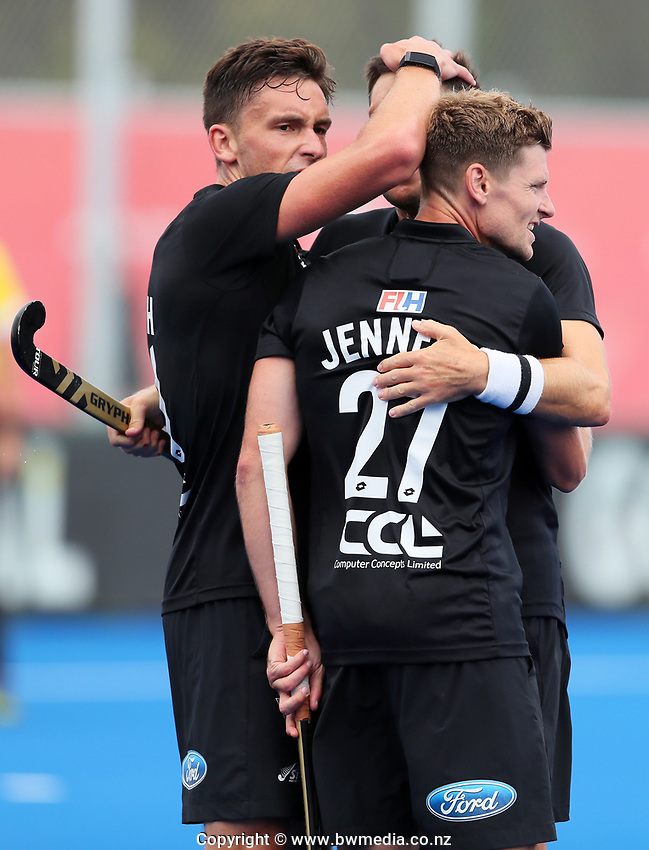 Jacob Smith and Stephen Jenness celebrate a goal during the Pro League Hockey match between the Blacksticks men and Great Britain, National Hockey Arena, Auckland, New Zealand, Saturday 8 February 2020. Photo: Simon Watts/www.bwmedia.co.nz