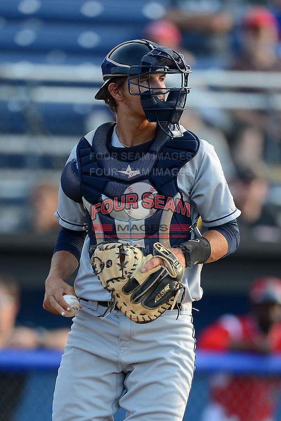 Mahoning Valley Scrappers catcher Martin Cervenka #20 during a game against the Batavia Muckdogs on June 22, 2013 at Dwyer Stadium in Batavia, New York.  Batavia defeated Mahoning Valley 2-1 in ten innings.  (Mike Janes/Four Seam Images)