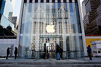 NEW YORK, NEW YORK - MARCH 10: People wait to enter an Apple store on March 10, 2021, in New York. The Nasdaq Composite continued falling more than half a percent during the day also the move away from Apple Inc, Amazon.com Inc , Facebook Inc, Tesla Inc and Microsoft Corp, falling during the day, helped small-cap stocks rise more than double the gains of the S&P 500. (Photo by John Smith/VIEWpress)
