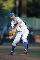 Jake Bird (14) of the UCLA Bruins pitches during a game against the Hofstra Pride at Jackie Robinson Stadium on March 14, 2015 in Los Angeles, California. UCLA defeated Hofstra, 18-1. (Larry Goren/Four Seam Images)