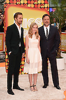 """Ryan Goslin, Angourie Rice and Russell Crowe<br /> arrives for the premiere of """"The Nice Guys"""" at the Odeon Leicester Square, London.<br /> <br /> <br /> ©Ash Knotek  D3120  19/05/2016"""