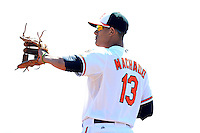 Baltimore Orioles third baseman Manny Machado #13 during a Spring Training game against the Toronto Blue Jays at Ed Smith Stadium on March 7, 2013 in Sarasota, Florida.  Balitmore defeated Toronto 11-10.  (Mike Janes/Four Seam Images)