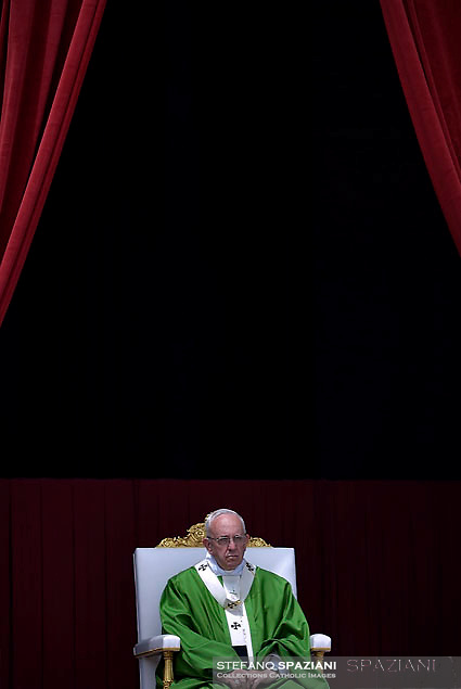 Pope Francis during Mass for sick and disabled people   at St Peter's square in Vatican on June 12, 2016.