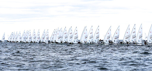Busy start line in this week's Laser Senior Europeans in Gdansk