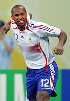 Thierry Henry of France celebrates his goal. The Korea Republic and France played to a 1-1 tie in their FIFA World Cup Group G match at the Zentralstadion, Leipzig, Germany, June 18, 2006.