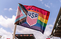 HOUSTON, TX - JUNE 9: A corner flag with the Pride flag printed on it sits on the field during a training session at BBVA Stadium on June 9, 2021 in Houston, Texas.