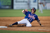 Matt Gonzalez (1) of the Danville Braves slides into third base after hitting a triple against the Kingsport Mets at American Legion Post 325 Field on July 9, 2016 in Danville, Virginia.  The Mets defeated the Braves 10-8.  (Brian Westerholt/Four Seam Images)