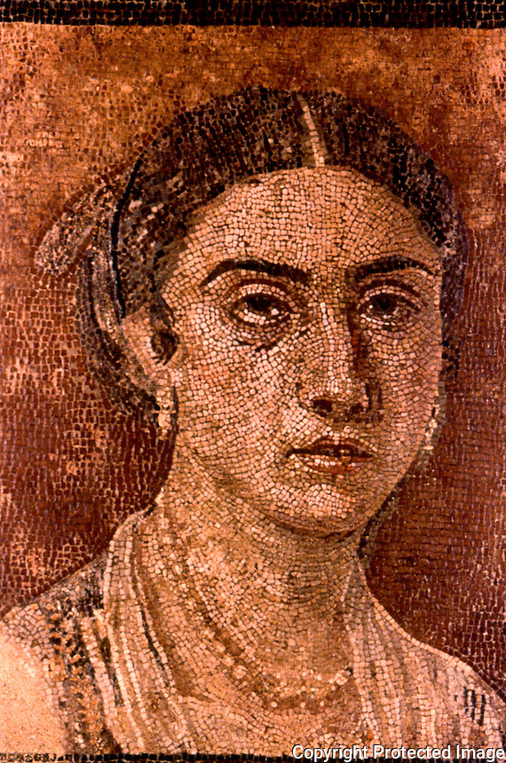 Greek Art:  Portrait of a Young Woman, Pompeian Villa, Floor Mosaic.  National Museum, Naples.