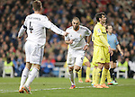 Real Madrid's Sergio Ramos (l) and Karim Benzema celebrates goal during La Liga match.February 9,2014. (ALTERPHOTOS/Alfaqui)